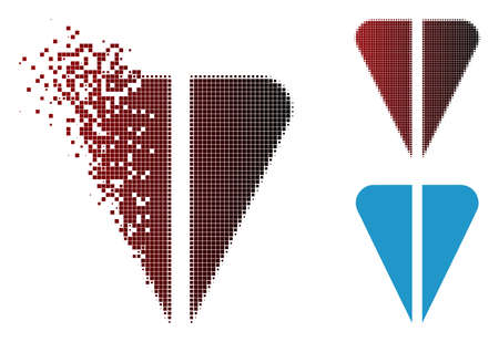 Ton currency icon in dissolved, pixelated halftone and undamaged solid versions. Pieces are combined into vector disappearing ton currency figure.