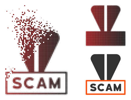 Ton scam label icon in sparkle, pixelated halftone and undamaged whole variants. Particles are composed into vector sparkle ton scam label form. Illustration