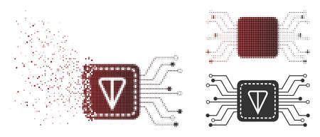 Ton wallet circuit icon in dispersed, pixelated halftone and undamaged solid variants. Points are arranged into vector disappearing ton wallet circuit figure.