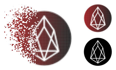 Eos currency icon in dissolved, pixelated halftone and undamaged solid versions. Points are combined into vector disappearing eos currency icon.