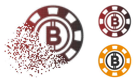 Bitcoin casino chip icon in dispersed, pixelated halftone and undamaged solid variants. Pieces are composed into vector disappearing Bitcoin casino chip icon.