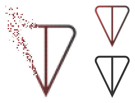 Ton currency icon in dispersed, dotted halftone and undamaged entire variants. Elements are combined into vector dispersed ton currency form.