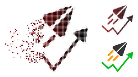 Ton launch trend arrow icon in dissolved, pixelated halftone and undamaged solid variants. Particles are arranged into vector disappearing ton launch trend arrow symbol.