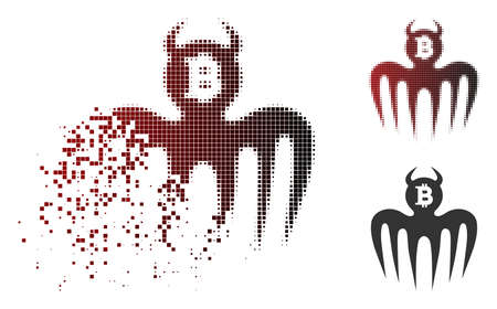 Bitcoin spectre devil icon in sparkle, pixelated halftone and undamaged whole variants. Fragments are arranged into vector disappearing Bitcoin spectre devil icon.
