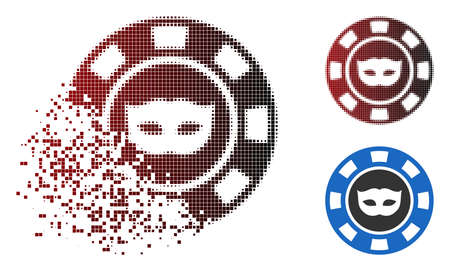 Anonymous casino chip icon in dissolved, pixelated halftone and undamaged solid variants. Fragments are grouped into vector sparkle anonymous casino chip form.