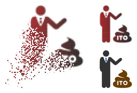 Businessman show ITO shit icon in sparkle, dotted halftone and undamaged solid versions. Particles are organized into vector dispersed businessman show ITO shit icon.