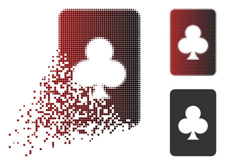 Clubs gambling card icon in dispersed, pixelated halftone and undamaged entire versions. Elements are organized into vector dispersed clubs gambling card icon.