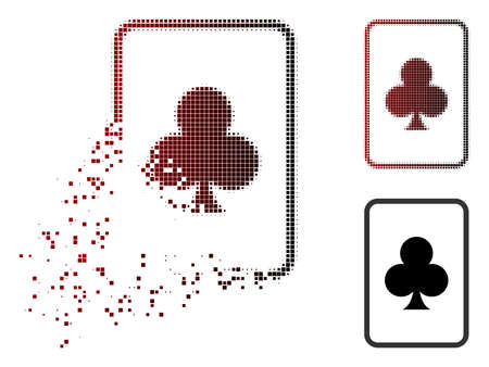 Clubs gambling card icon in fractured, pixelated halftone and undamaged solid variants. Pixels are organized into vector dispersed clubs gambling card shape.