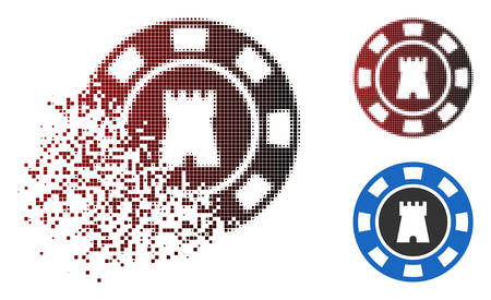 Bulwark casino chip icon in dissolved, dotted halftone and undamaged whole versions. Elements are combined into vector disappearing bulwark casino chip icon. Illustration