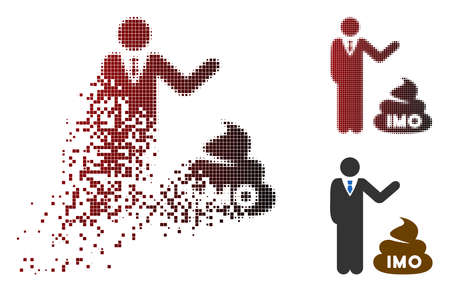 Businessman show IMO shit icon in fractured, pixelated halftone and undamaged solid variants. Particles are organized into vector disappearing businessman show IMO shit symbol.