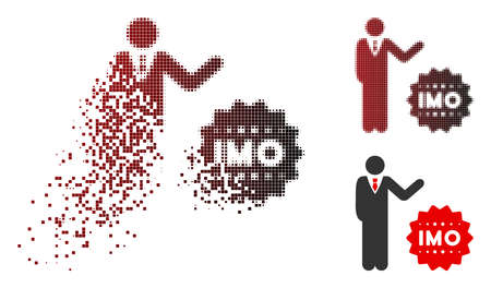 Businessman show IMO token icon in dissolved, pixelated halftone and undamaged whole variants. Particles are organized into vector disappearing businessman show IMO token icon.