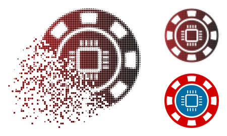 CPU casino chip icon in fractured, dotted halftone and undamaged solid versions. Particles are combined into vector dissolving CPU casino chip icon.