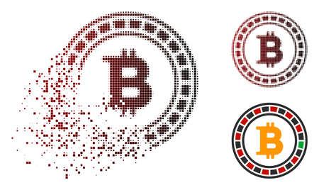 Bitcoin casino roulette icon in sparkle, pixelated halftone and undamaged solid variants. Pixels are grouped into vector dispersed Bitcoin casino roulette icon. Illustration