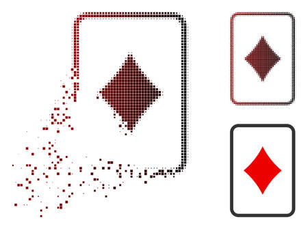 Diamonds gambling card icon in dispersed, pixelated halftone and undamaged solid versions. Points are grouped into vector dispersed diamonds gambling card symbol. 向量圖像