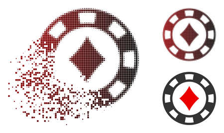 Diamonds casino chip icon in sparkle, dotted halftone and undamaged entire versions. Points are combined into vector sparkle diamonds casino chip icon. 向量圖像