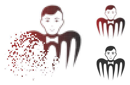Croupier spectre monster icon in dispersed, dotted halftone and undamaged entire versions. Particles are grouped into vector dissolving croupier spectre monster icon.