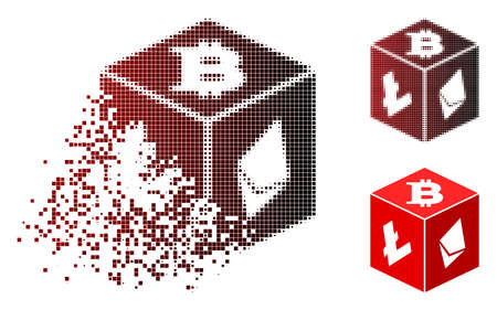 Cryptocurrency dice icon in dispersed, dotted halftone and undamaged solid versions. Particles are composed into vector dispersed cryptocurrency dice figure.