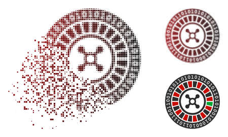 Digital casino roulette icon in dispersed, pixelated halftone and undamaged solid variants. Fragments are combined into vector dispersed digital casino roulette icon.