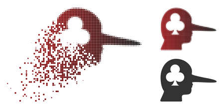 Gambling jerk icon in dispersed, pixelated halftone and undamaged whole variants. Pixels are composed into vector disappearing gambling jerk icon.