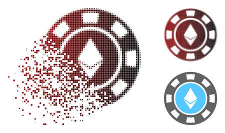 Ethereum casino chip icon in sparkle, pixelated halftone and undamaged entire variants. Particles are composed into vector dissipated Ethereum casino chip icon.