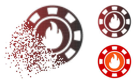Flame casino chip icon in dissolved, dotted halftone and undamaged entire versions. Pieces are grouped into vector sparkle flame casino chip icon.