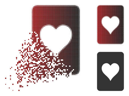 Hearts gambling card icon in dispersed, pixelated halftone and undamaged solid versions. Particles are composed into vector disappearing hearts gambling card form.