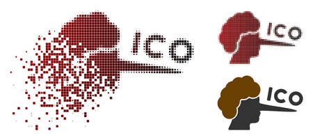 ICO lier icon in sparkle, pixelated halftone and undamaged solid versions. Particles are combined into vector sparkle ICO lier form.