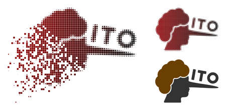 ITO lier icon in dispersed, pixelated halftone and undamaged whole versions. Pieces are combined into vector disappearing ITO lier icon. Иллюстрация