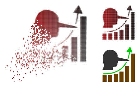 Lier hyip chart icon in dispersed, dotted halftone and undamaged solid variants. Pixels are combined into vector dissipated lier hyip chart pictogram. Illustration