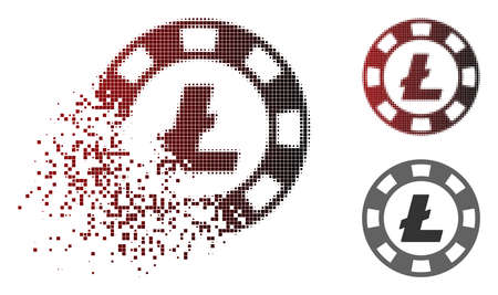Litecoin casino chip icon in sparkle, pixelated halftone and undamaged entire variants. Particles are organized into vector disappearing Litecoin casino chip shape.