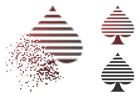Peaks suit icon in dissolved, dotted halftone and undamaged solid variants. Pieces are arranged into vector dispersed peaks suit icon.