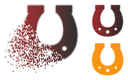 Lucky horseshoe icon in sparkle, dotted halftone and undamaged solid variants. Points are arranged into vector dissolving lucky horseshoe icon.