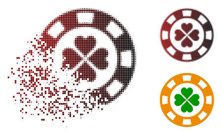 Lucky casino chip icon in dissolved, pixelated halftone and undamaged entire versions. Pixels are arranged into vector disappearing lucky casino chip icon.