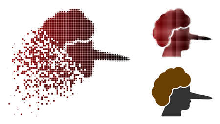 Lier icon in sparkle, dotted halftone and undamaged solid versions. Fragments are grouped into vector sparkle lier icon.