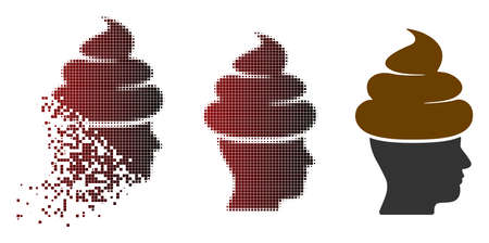 Shit guy icon in fractured, dotted halftone and undamaged entire variants.