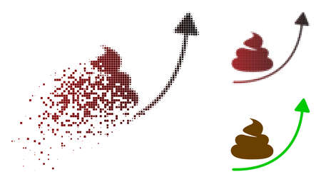Shit hype arrow up icon in dispersed, pixelated halftone and undamaged solid variants.