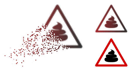 Shit warning icon in dissolved, dotted halftone and undamaged whole variants. Particles are composed into vector dissolving shit warning icon. 向量圖像