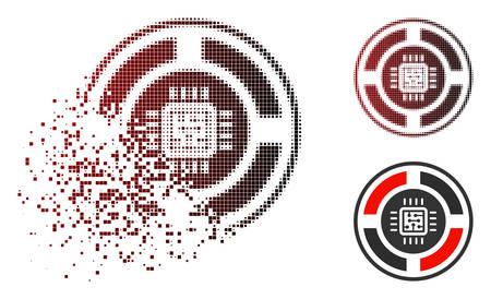 Roulette processor icon in dispersed, dotted halftone and undamaged solid variants. Particles are organized into vector dissolving roulette processor pictogram.