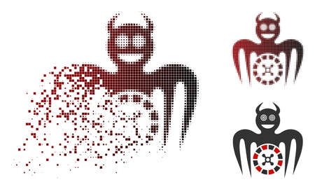 Roulette mad spectre devil icon in dispersed, pixelated halftone and undamaged solid versions. Points are arranged into vector sparkle roulette mad spectre devil icon. Illustration