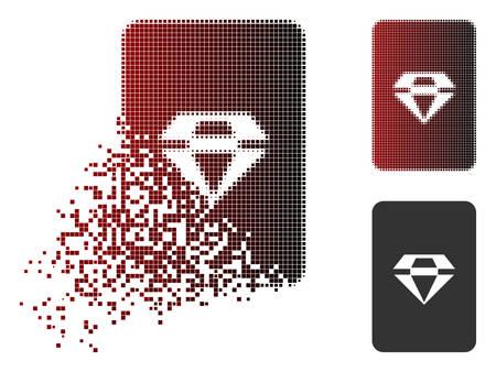 Ruby gamekaartpictogram in gebroken, gestippelde halftoon en onbeschadigde hele varianten. Pixels worden gecombineerd tot een vector gedissipeerd ruby gamekaartpictogram.
