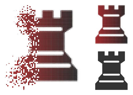 Chess tower icon in dissolved, dotted halftone and undamaged whole variants. Pixels are organized into vector dissipated chess tower icon.