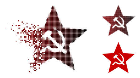 Communism star icon in fractured, pixelated halftone and undamaged solid variants. Fragments are grouped into vector sparkle communism star icon. Ilustrace