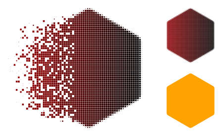 Filled hexagon icon in sparkle, dotted halftone and undamaged whole variants. Points are arranged into vector sparkle filled hexagon figure.