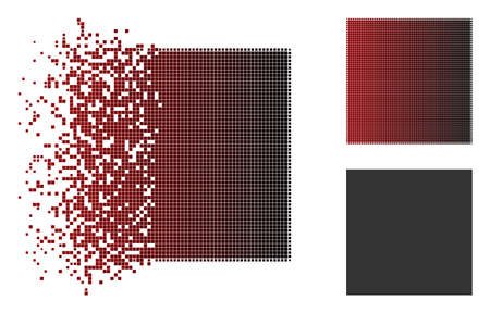Filled square icon in dispersed, dotted halftone and undamaged whole versions. Fragments are arranged into vector disappearing filled square figure.