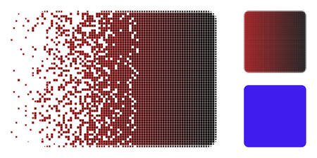 Filled square icon in dispersed, pixelated halftone and undamaged whole variants. Particles are arranged into vector dispersed filled square form.
