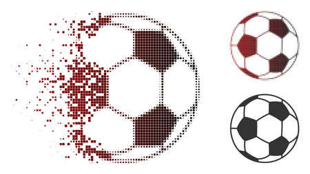 Football ball icon in sparkle, pixelated halftone and undamaged whole versions.