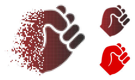 Fist icon in fractured, pixelated halftone and undamaged entire variants. Pixels are organized into vector dispersed fist icon. Illustration