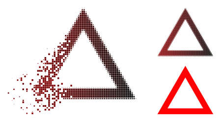 Contour triangle icon in dissolved, dotted halftone and undamaged solid versions.
