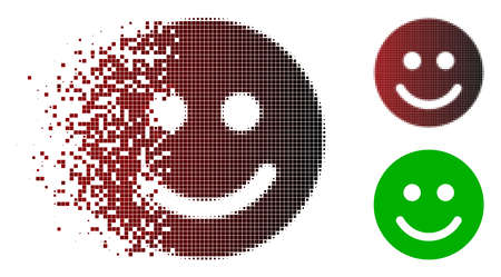 Glad smile icon in fractured, dotted halftone and undamaged solid versions. Pixels are organized into vector dissipated glad smile figure. Illustration
