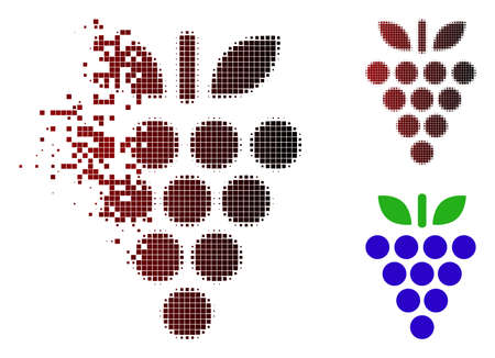 Grapes icon in sparkle dotted halftone and undamaged entire versions.